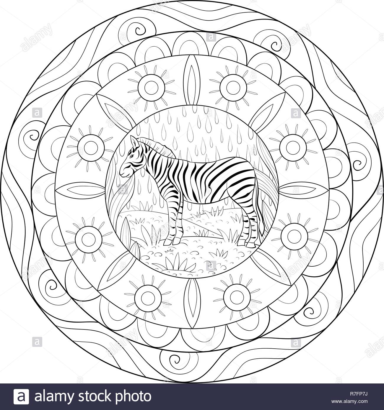 A zen mandala with a zebra image for adults.A coloring book,page for ...