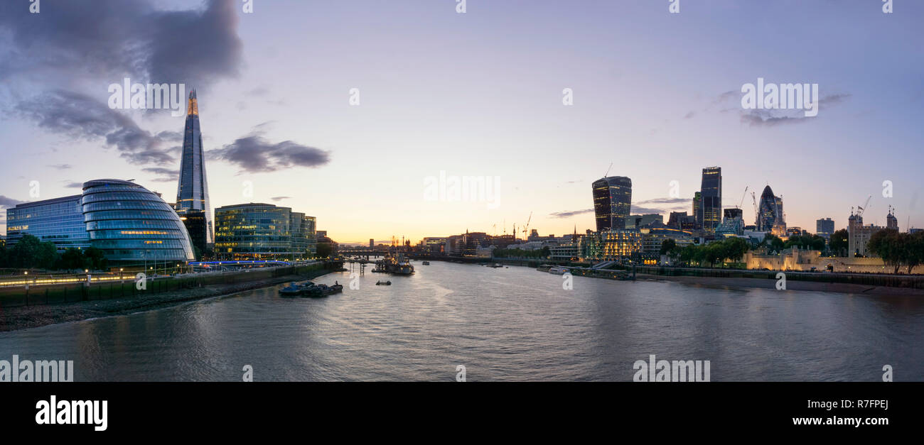 Panorama View from Tower Bridge, City Hall, The Shard, Financial District, City of London UK - Stock Image