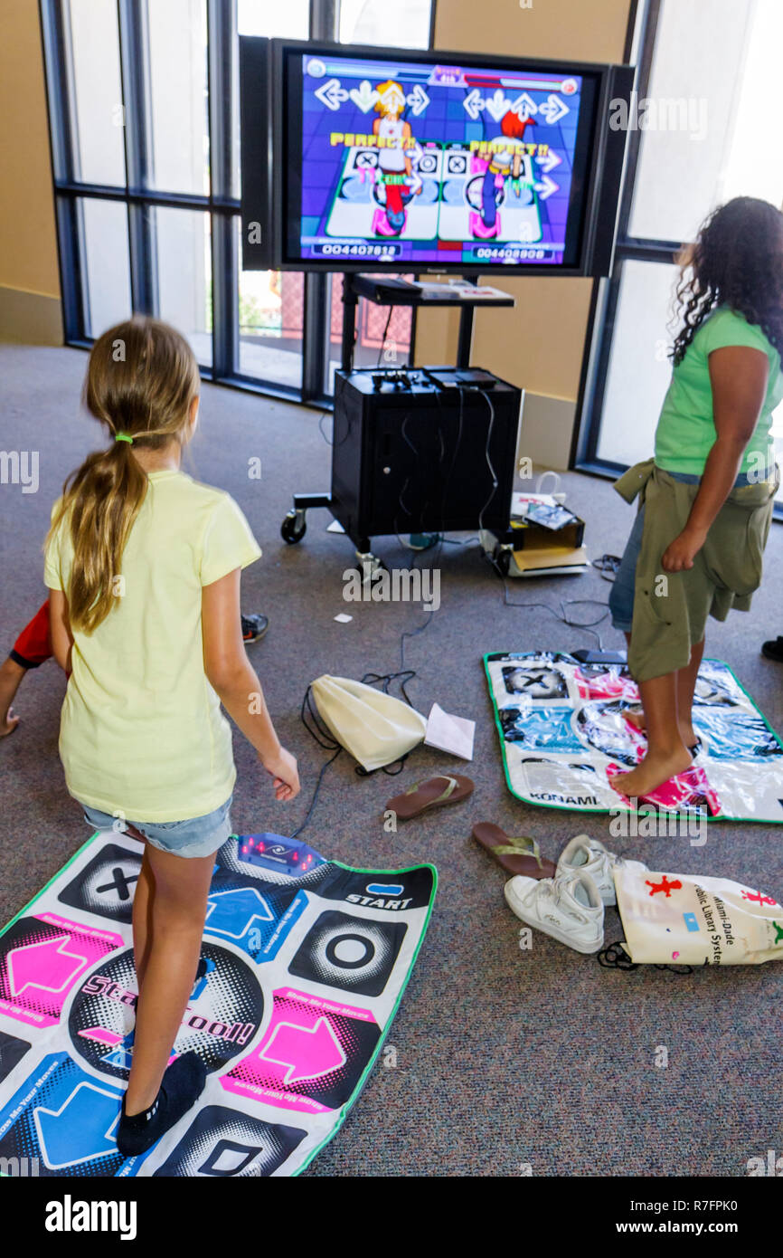 Miami Florida Cultural Center Plaza Main Public Library The Art of Storytelling International Festival Teen Zone Dance Dance Rev - Stock Image