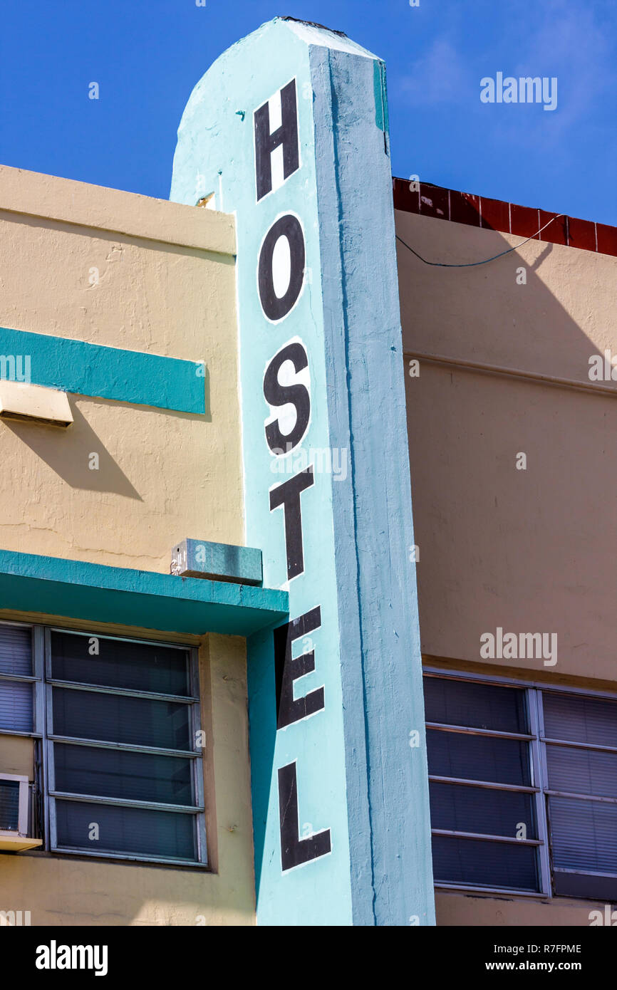 Miami Beach Florida Hostel lodging budget inexpensive no-frills sign Stock Photo