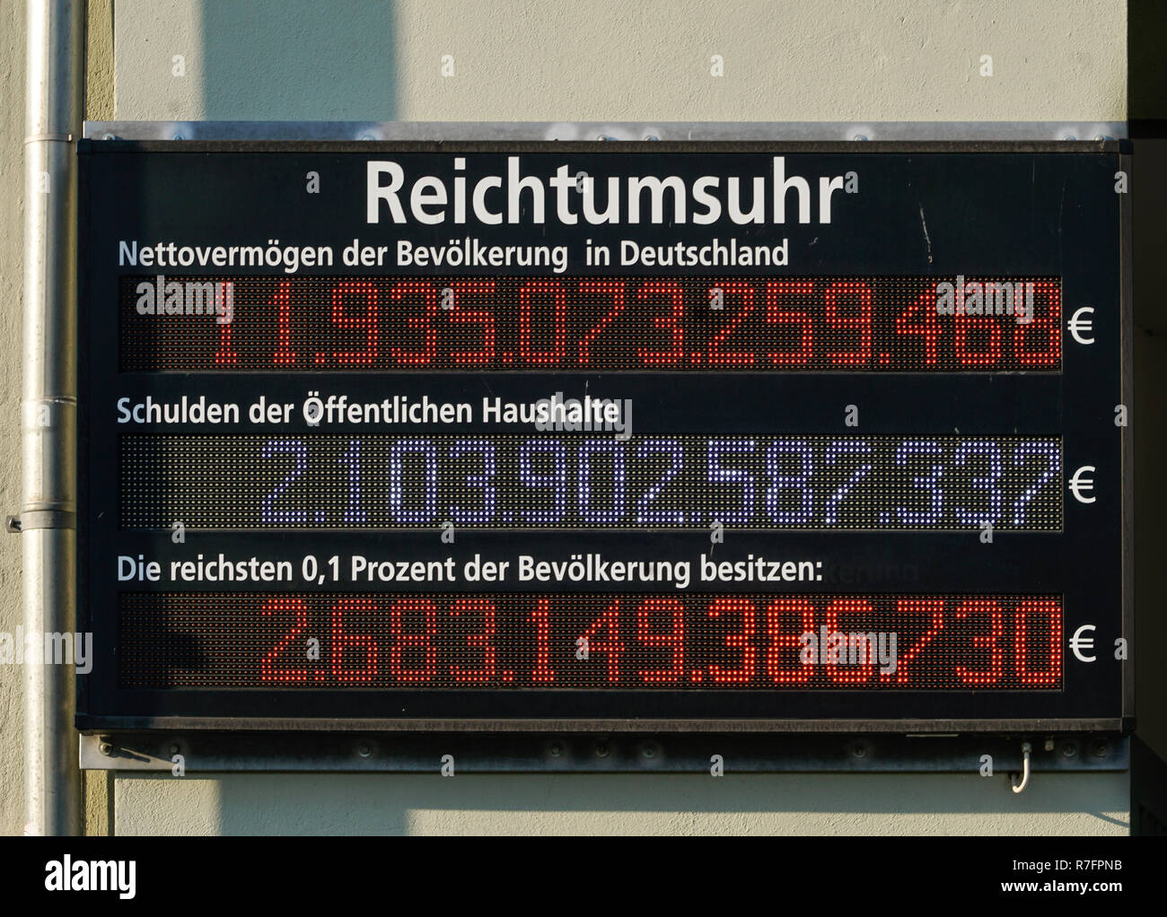 Reichtumsuhr für Deutschland, Nettovermoegen, Schulden oeffentliche Haushalte, Reichtum, Armut, Berlin, Deutschland, - Stock Image