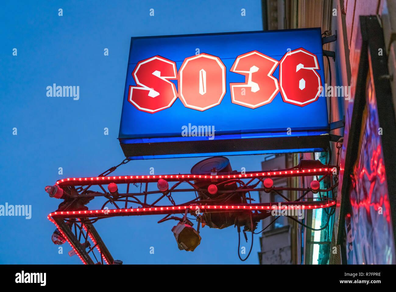 SO36 club in Kreuzberg, Oranienstrasse, nightlife Berlin - Stock Image