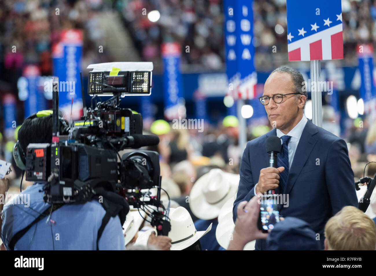 NBC Nightly news anchor Lester Holt reports from the floor of the