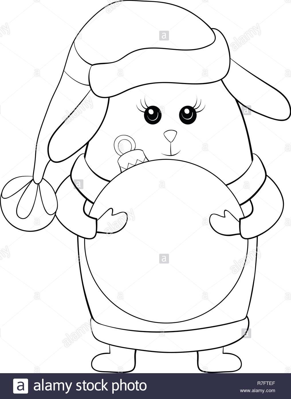 Christmas Boots Drawing.A Cartoon Rabbit Wearing A Christmas Cap Waistcoat Gloves