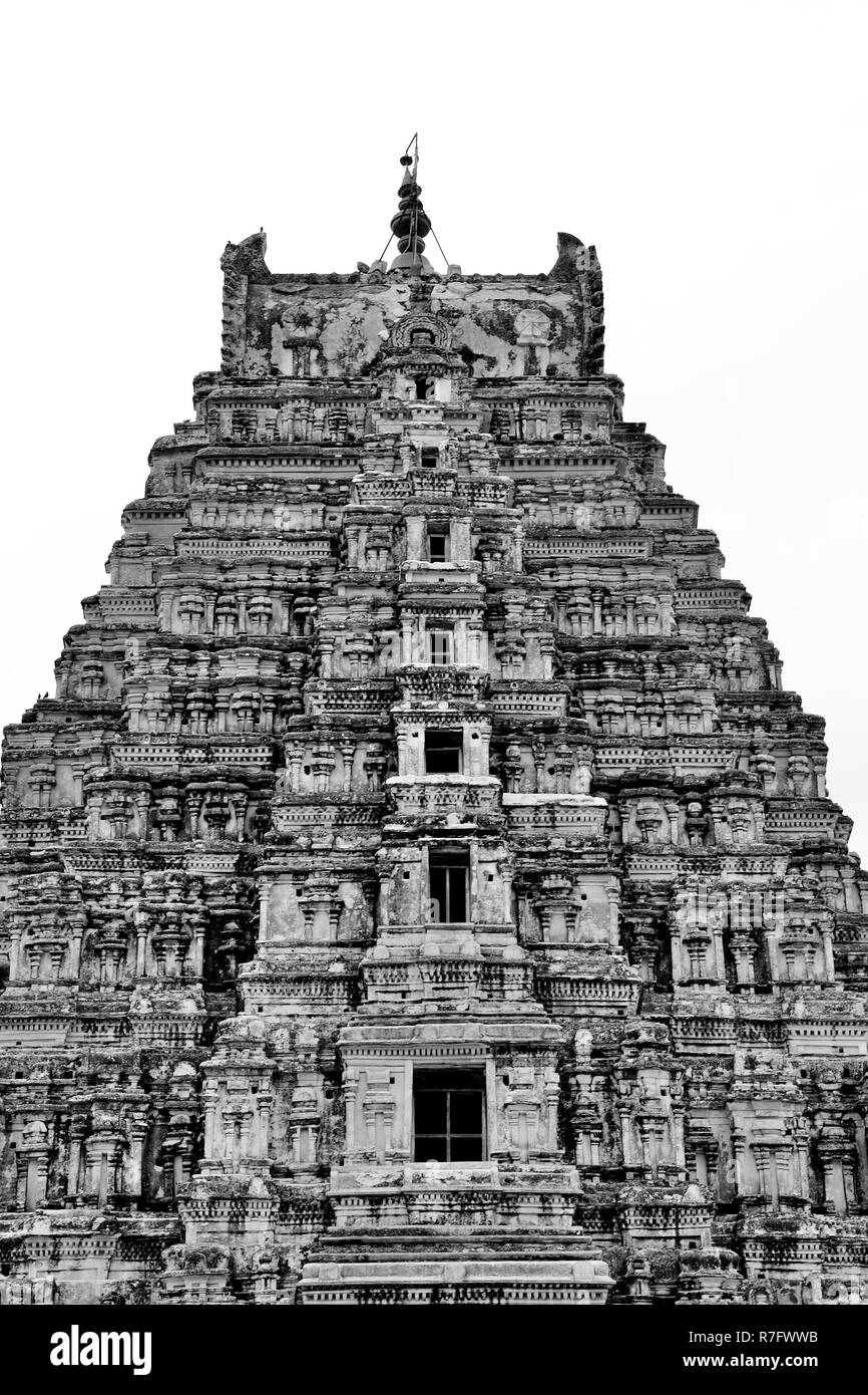 Beautifully carved Virupaksha Temple, located in Hampi, Ballari district, Karnataka, India - Stock Image