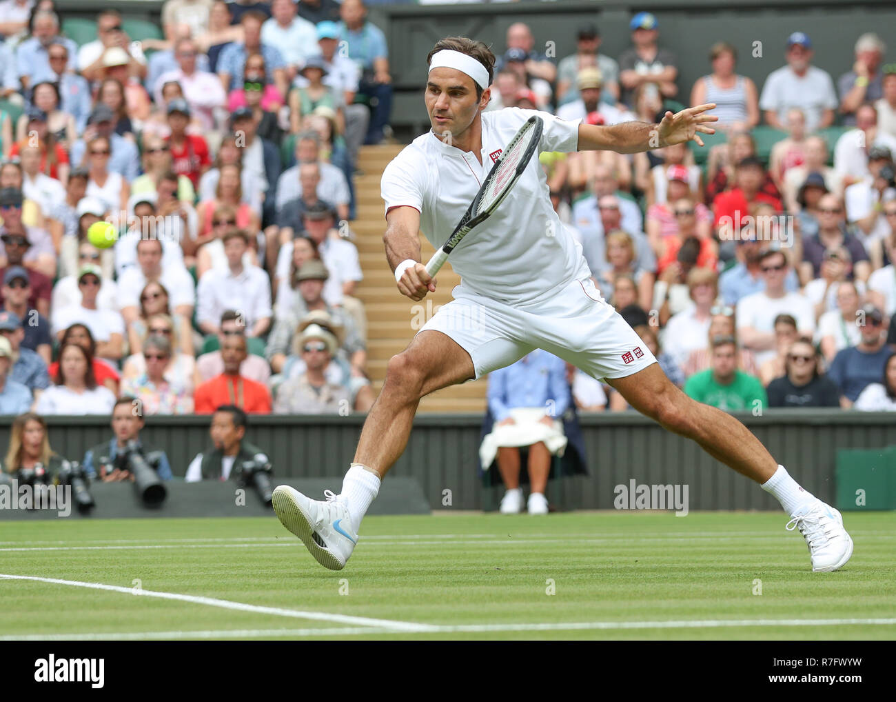 Swiss player Roger Federer in action  at Wimbledon, London, Great Britain, United Kingdom. - Stock Image