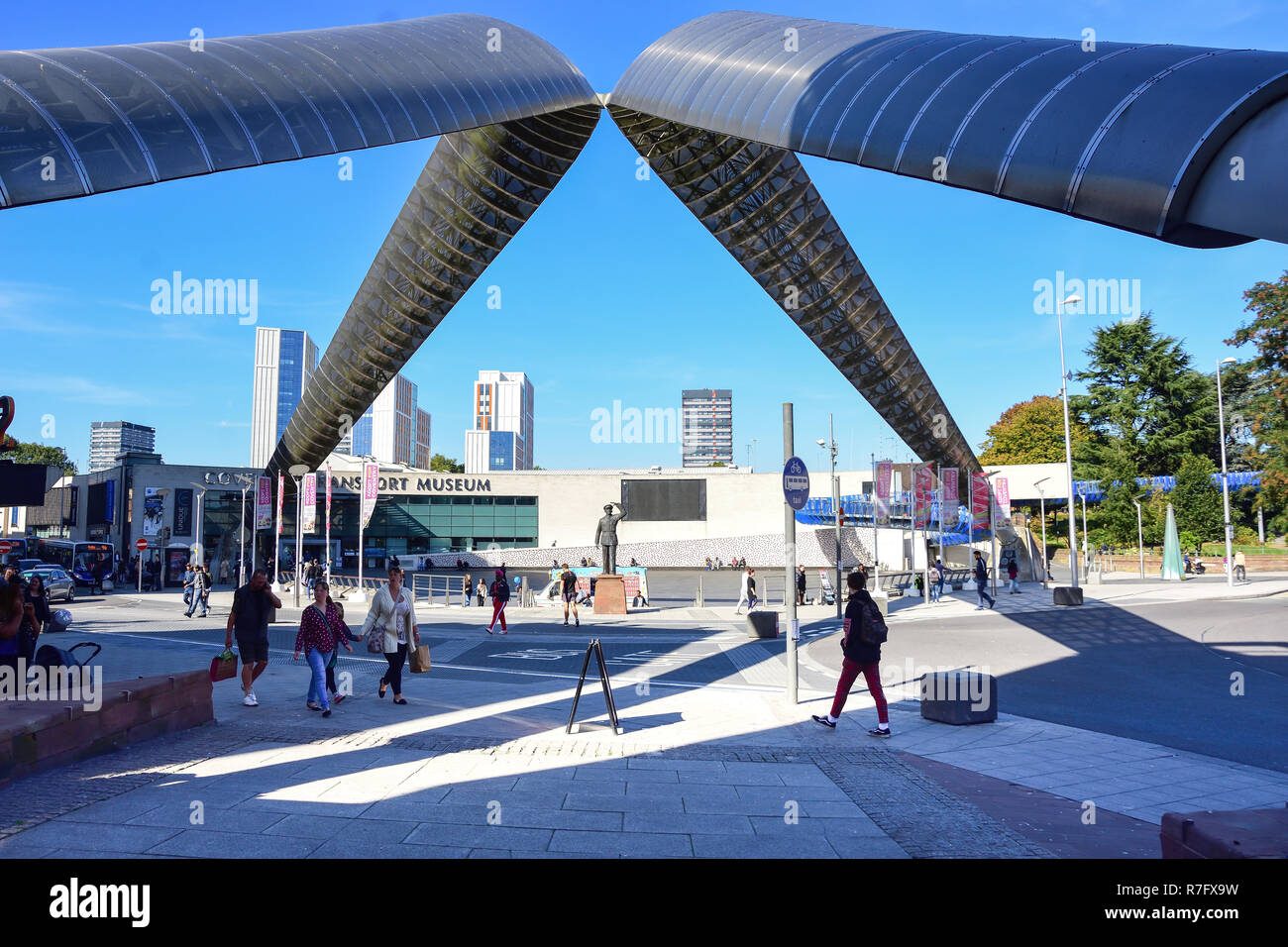 The 'Whittle Arch' and Coventry Transport Museum, Hales Street. Coventry, West Midlands, England, United Kingdom - Stock Image