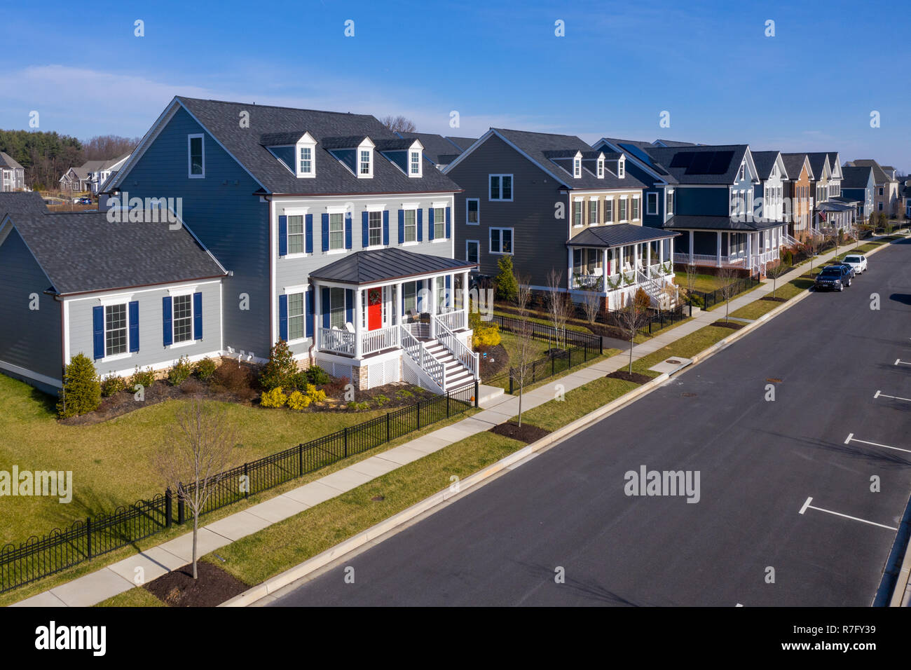Aerial view of typical upper class American single family real estate homes with vinyl siding and brick facade in the East Coast of the United States Stock Photo