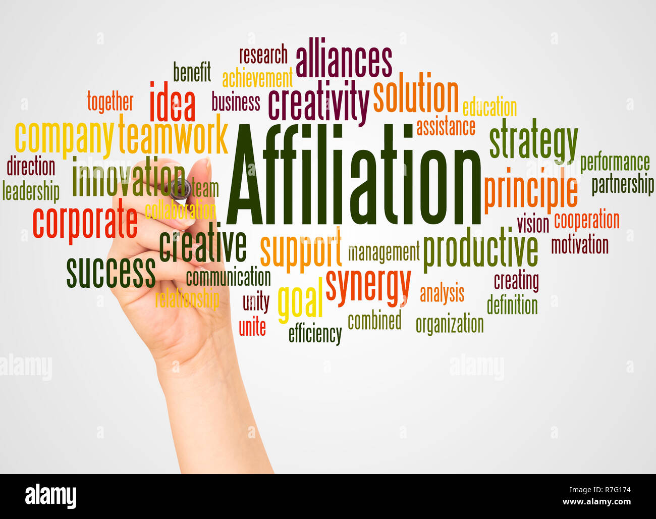 Affiliation word cloud and hand with marker concept on white background. - Stock Image