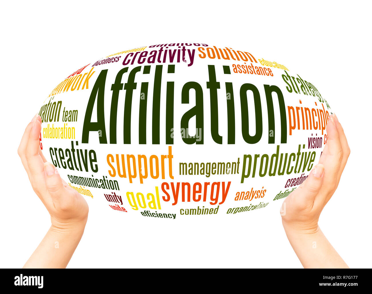 Affiliation word cloud hand sphere concept on white background. - Stock Image
