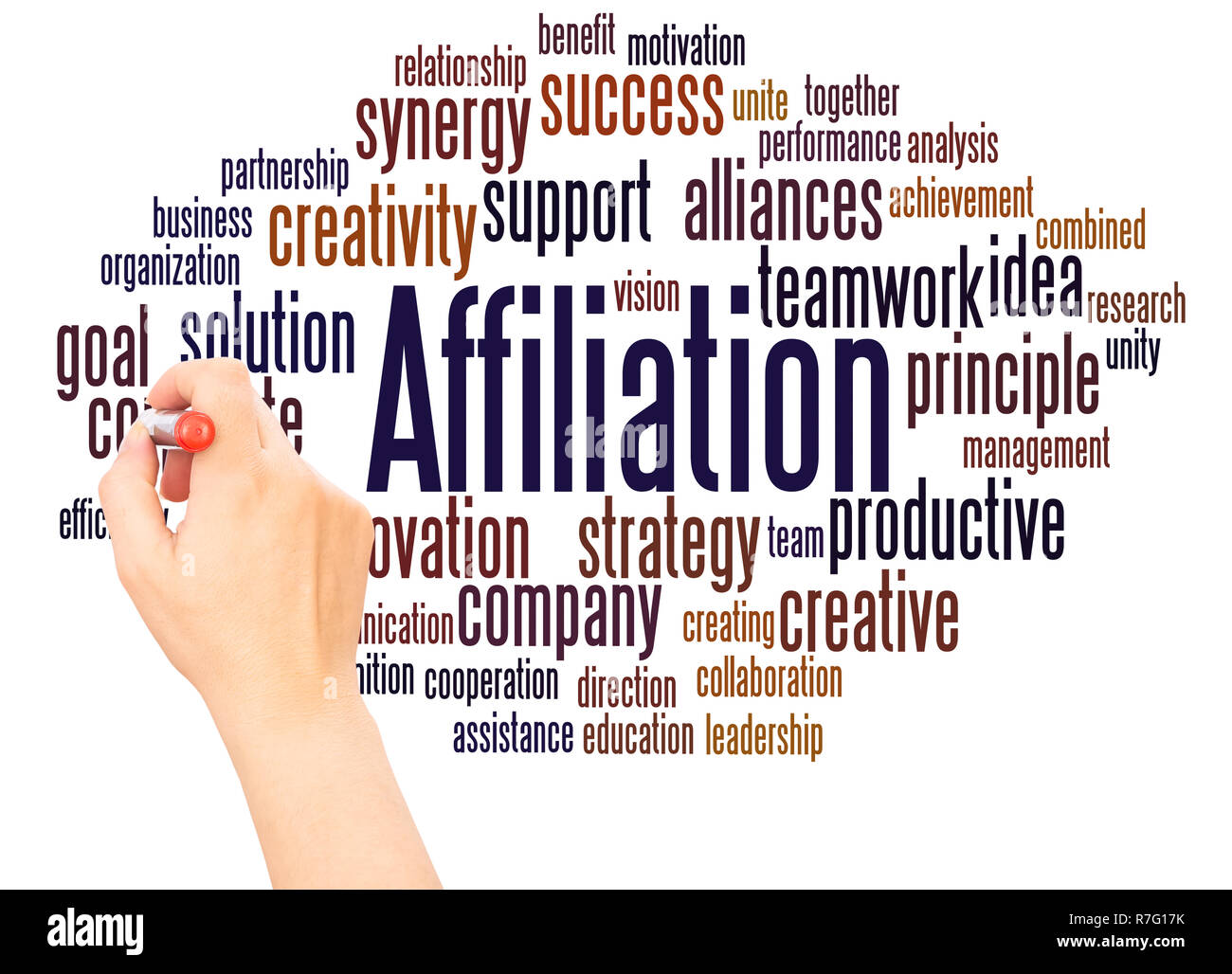 Affiliation word cloud hand writing concept on white background. - Stock Image