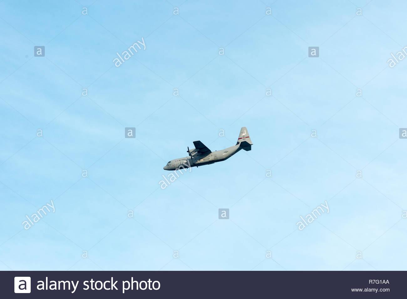 Jamestown, Rhode Island, USA - October 17, 2012: Rhode Island Air National Guard C-130 passing over Jamestown, Rhode Island - Stock Image