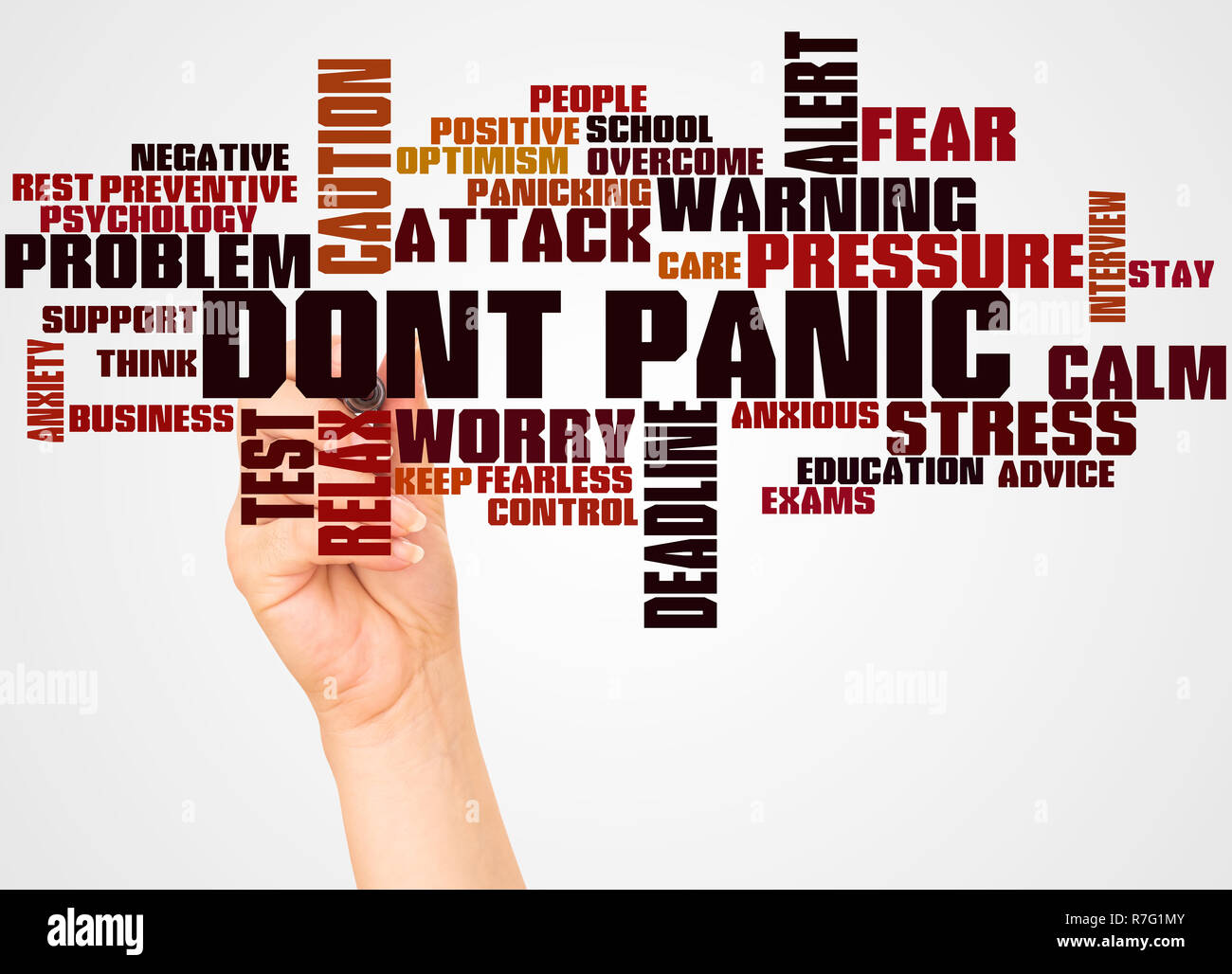 2831e7d69 Dont Panic word cloud and hand with marker concept on white background. -  Stock Image