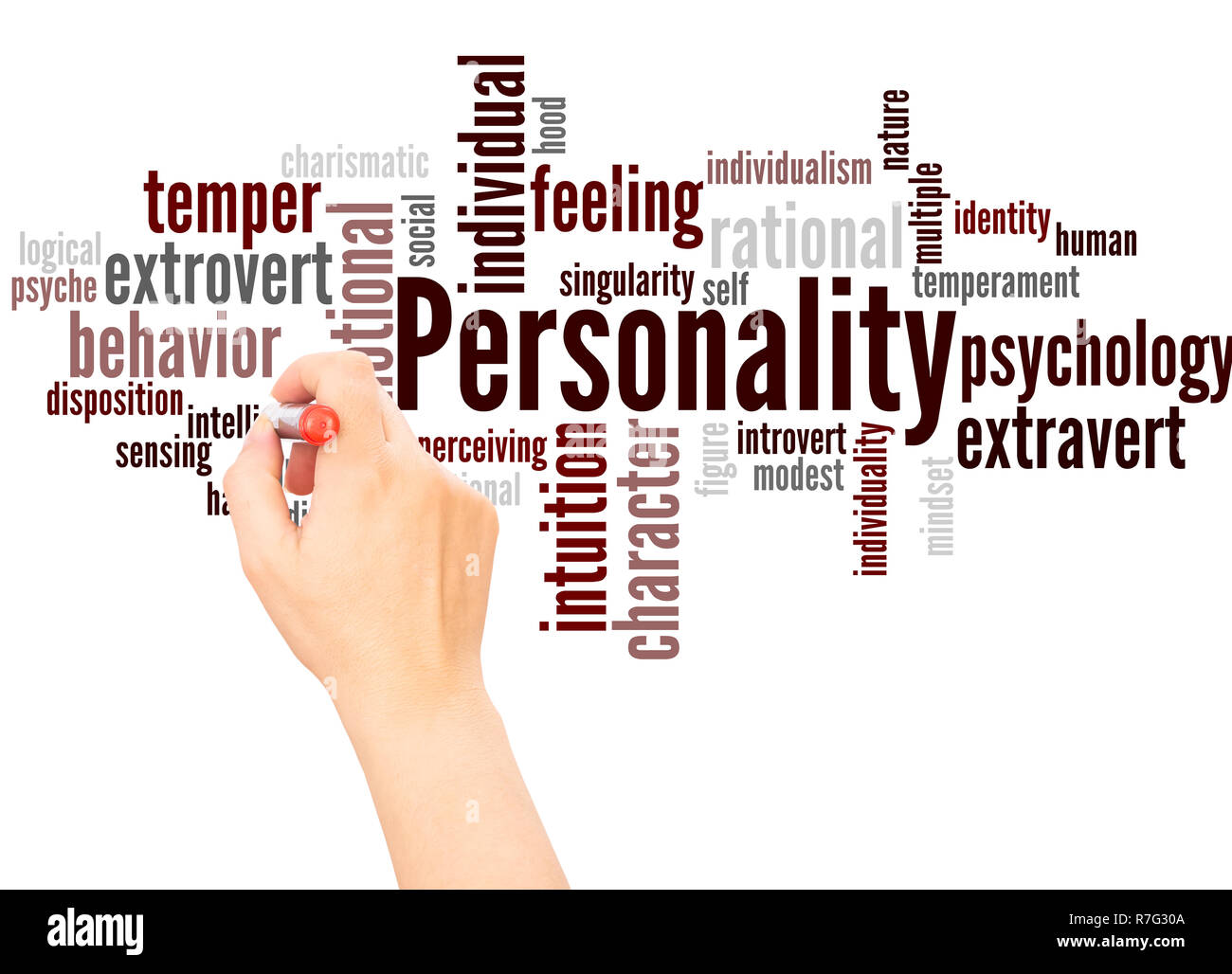 Personality word cloud hand writing concept on white background. - Stock Image