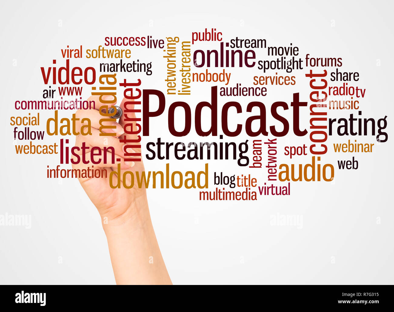 Podcast word cloud and hand with marker concept on white background. - Stock Image