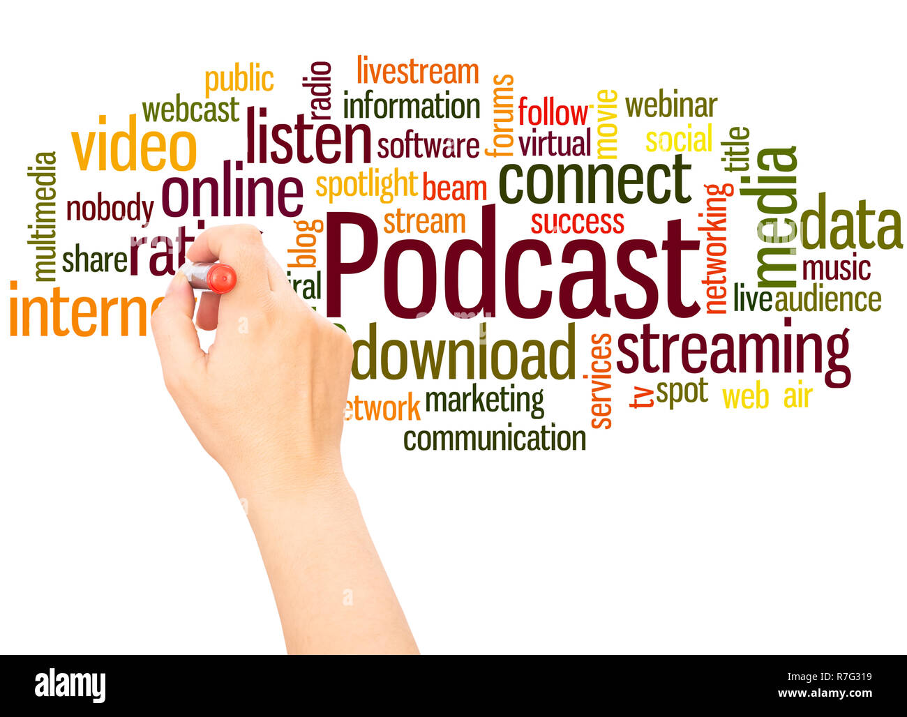 Podcast word cloud hand writing concept on white background. - Stock Image