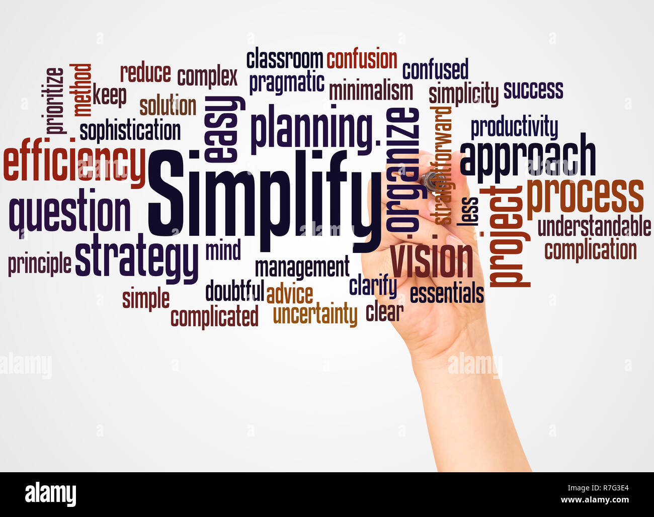 Simplify word cloud and hand with marker concept on white background. - Stock Image