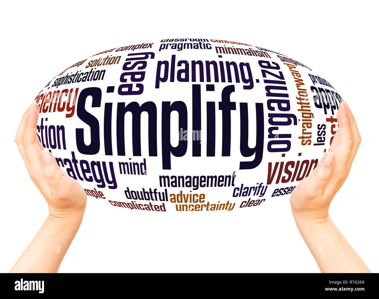 Simplify word cloud hand sphere concept on white background. - Stock Image