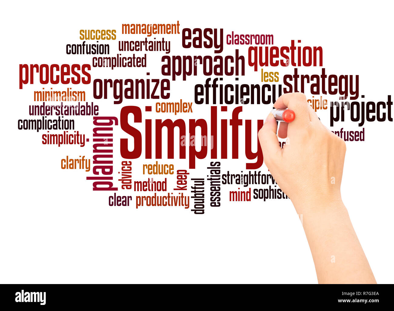 Simplify word cloud hand writing concept on white background. - Stock Image
