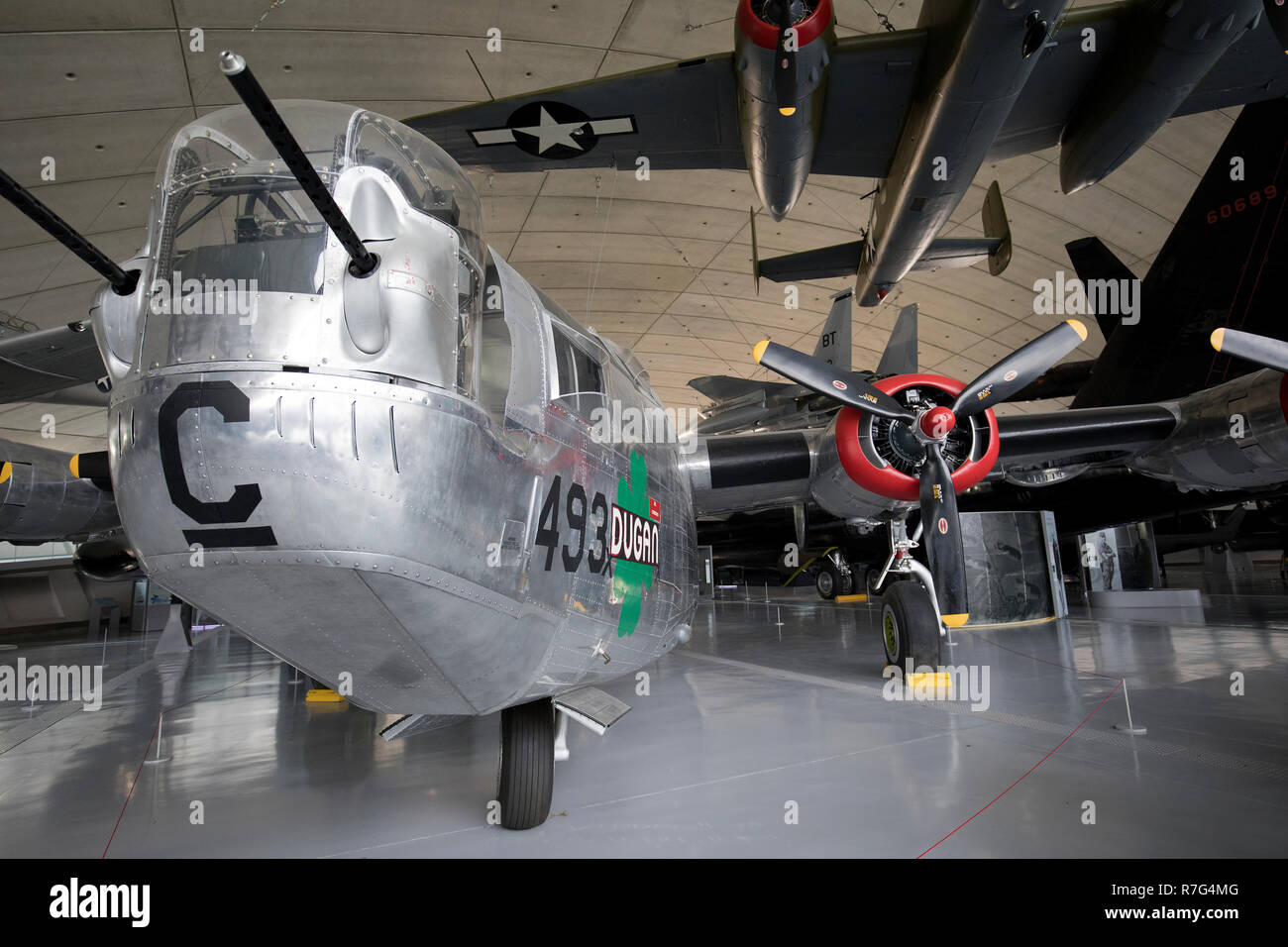 U.S.A.  B-24M Consolidated Liberator bomber at the American war museum,Duxford, Cambridgeshire,uk - Stock Image