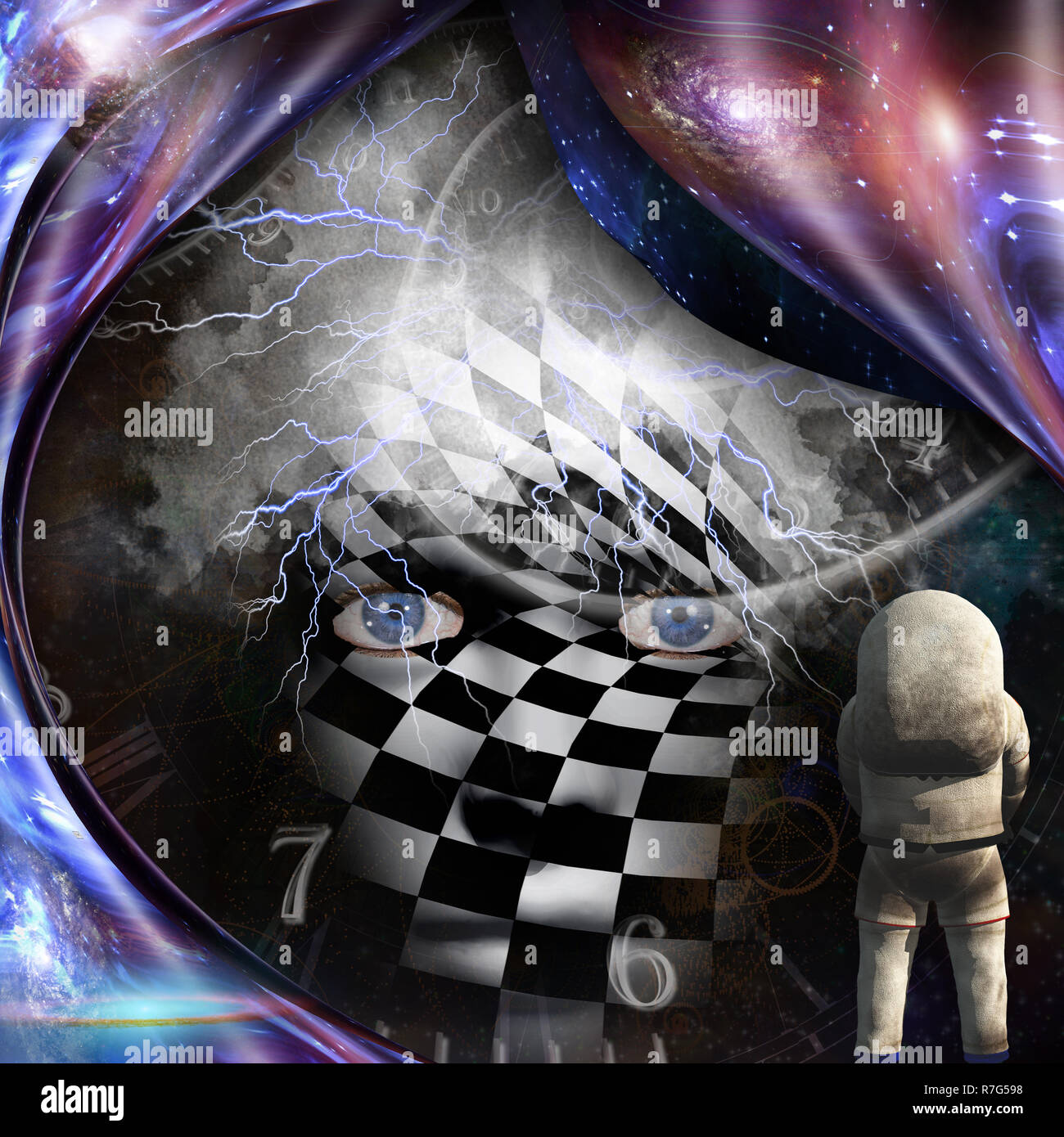 Surrealism. Spirals of time and warped space. Astronaut. Checkered woman's face with lightnings in deep space. - Stock Image