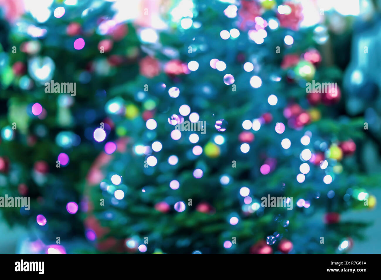 Abstract festive background of christmas fir tree, spruce with silver bokeh, unfocused sparkles of garland, decor lights. Winter holiday, Happy New Year. - Stock Image