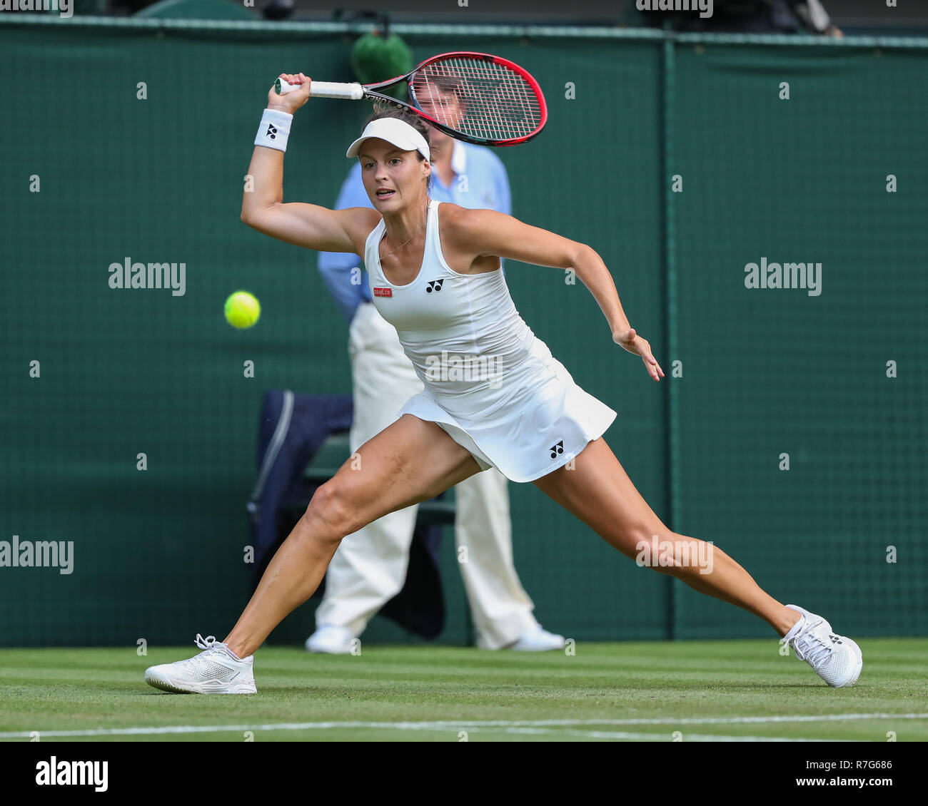 German player Tatjana Maria in action  at Wimbledon, London, Great Britain, United Kingdom. - Stock Image