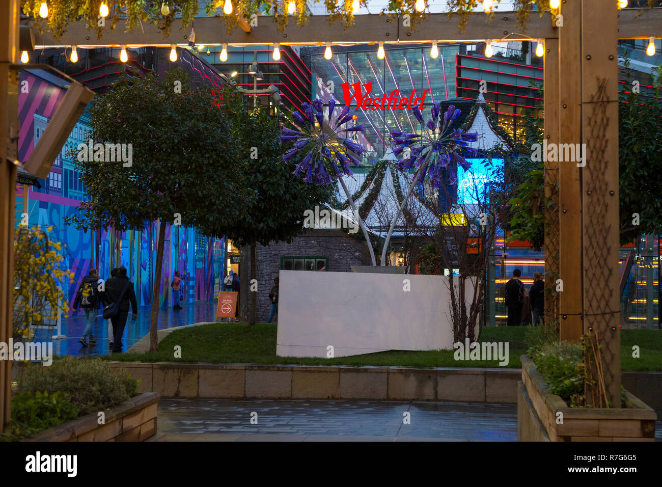 Westfield shopping centre, christmas decorations, stratford, london, uk Stock Photo