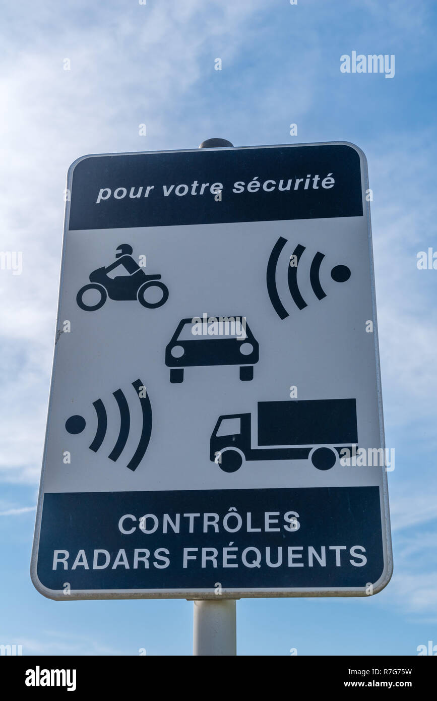 Road sign, radar control, Grevenmacher, Grand Duchy of Luxembourg, Europe - Stock Image