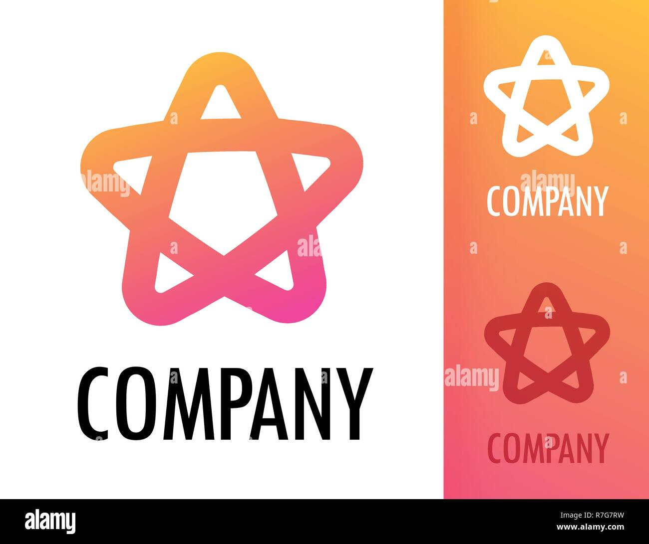 Colorful Star with round corners orange pink color - Vector logo emblem illustration for modern business energy company. Stock Vector