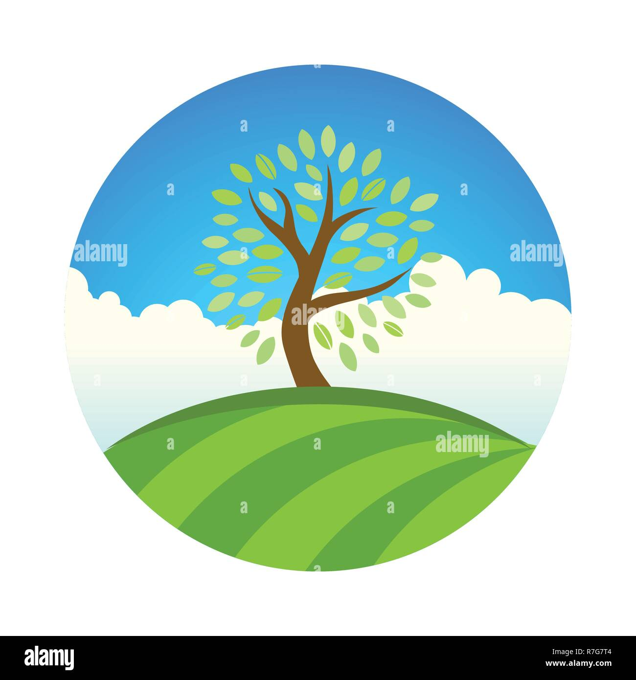 Logo with Landscape of eco garden or park, tree under blue sky. Vector illustration of natural fruit farm and harvest. - Stock Vector