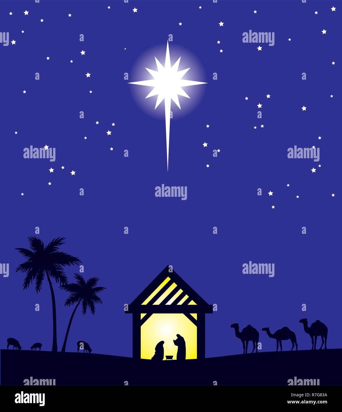 Christmas Background Christian.Vector Illustration Of Nativity Christian Scene Christmas