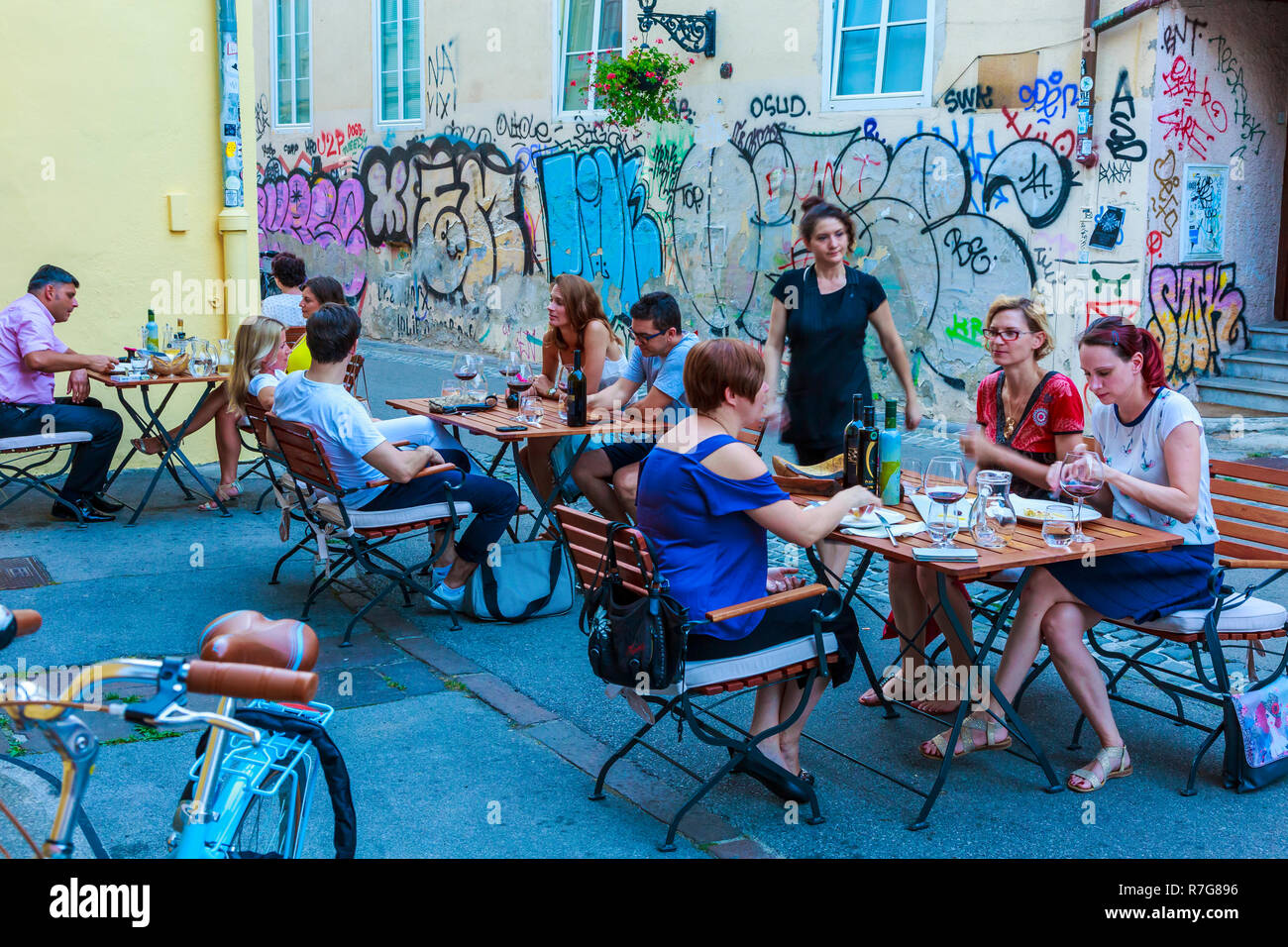 Street atmosphere. Kastelceva street. Ljubljana, Slovenia, Europe. - Stock Image