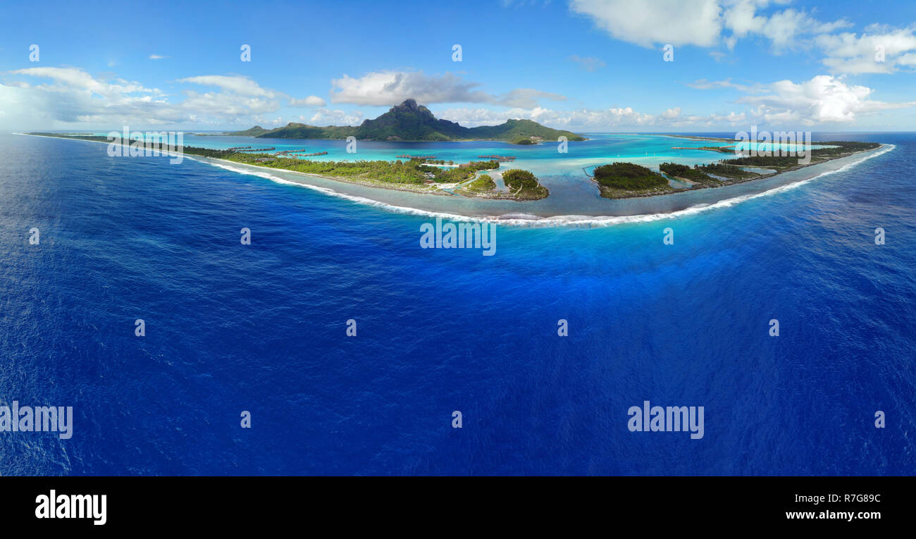 Aerial Panoramic Landscape View Of The Island Of Bora Bora