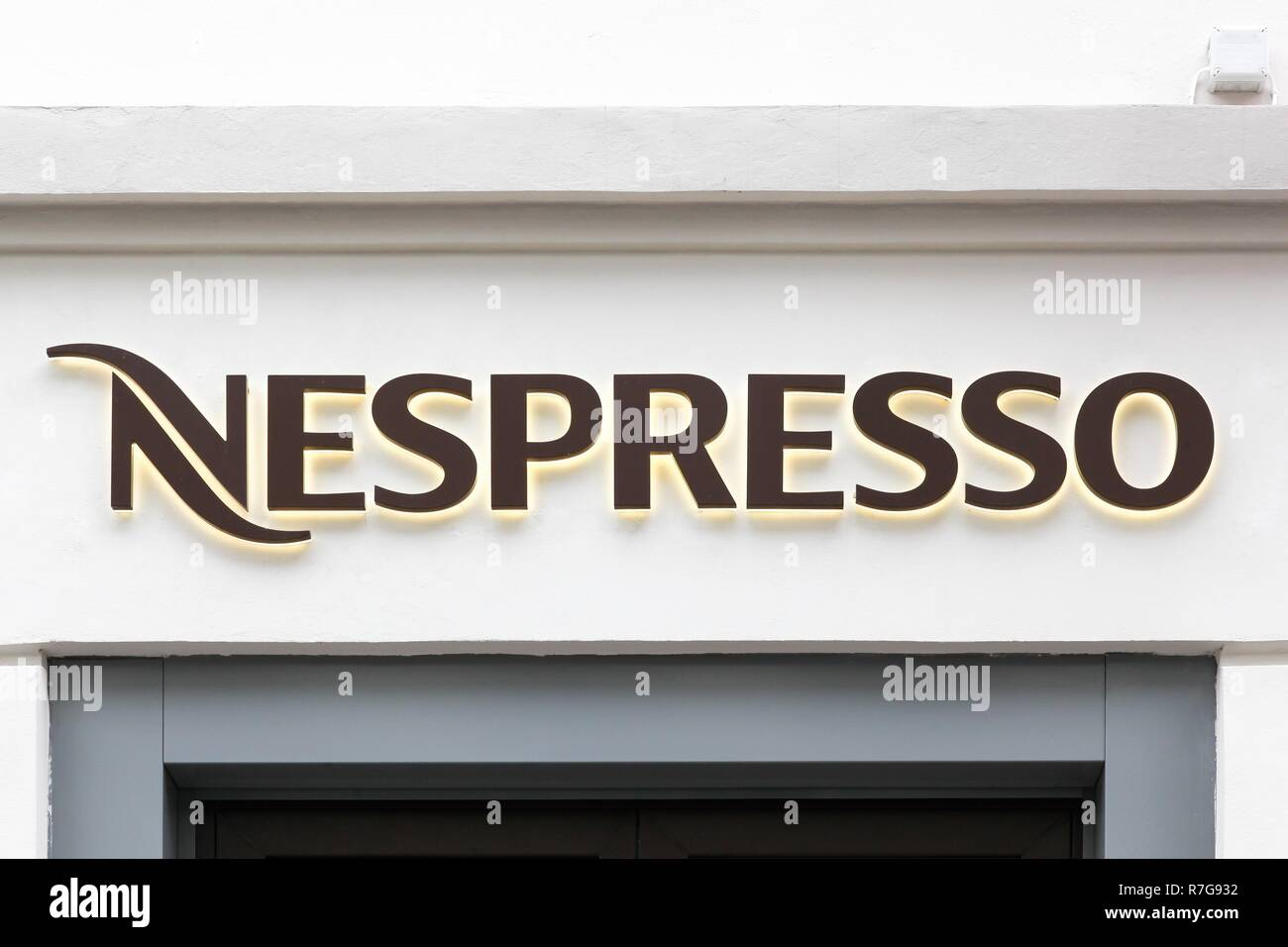 Oslo, Norway - August 27, 2018: Nespresso logo on a store. Nespresso is the brand name of Nestle Nespresso - Stock Image