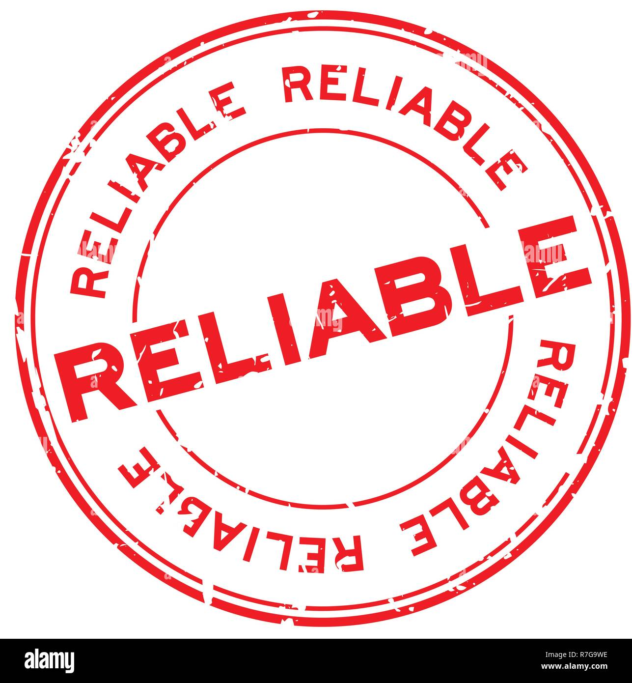 Grunge red reliable round rubber seal stamp on white background Stock Vector