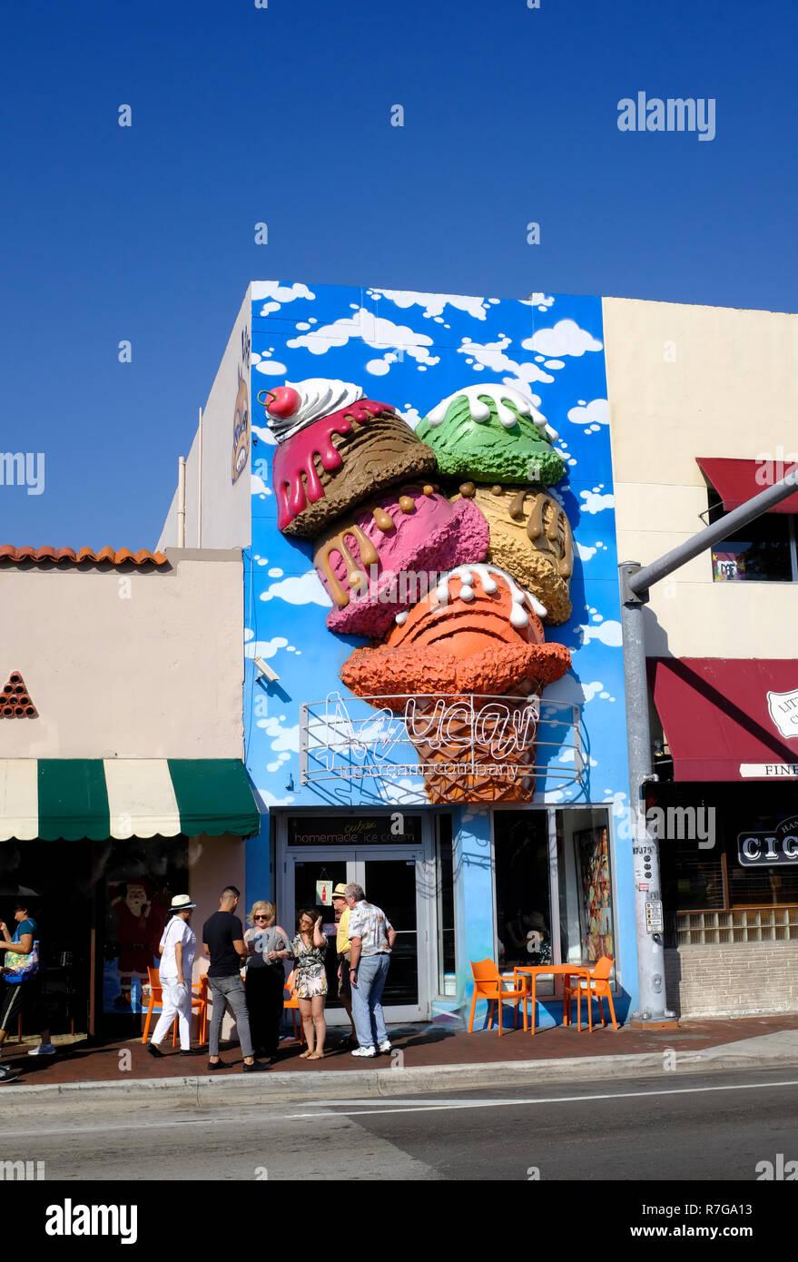 Azucar Ice Cream Parlor in Little Havana, Miami, Florida - Stock Image