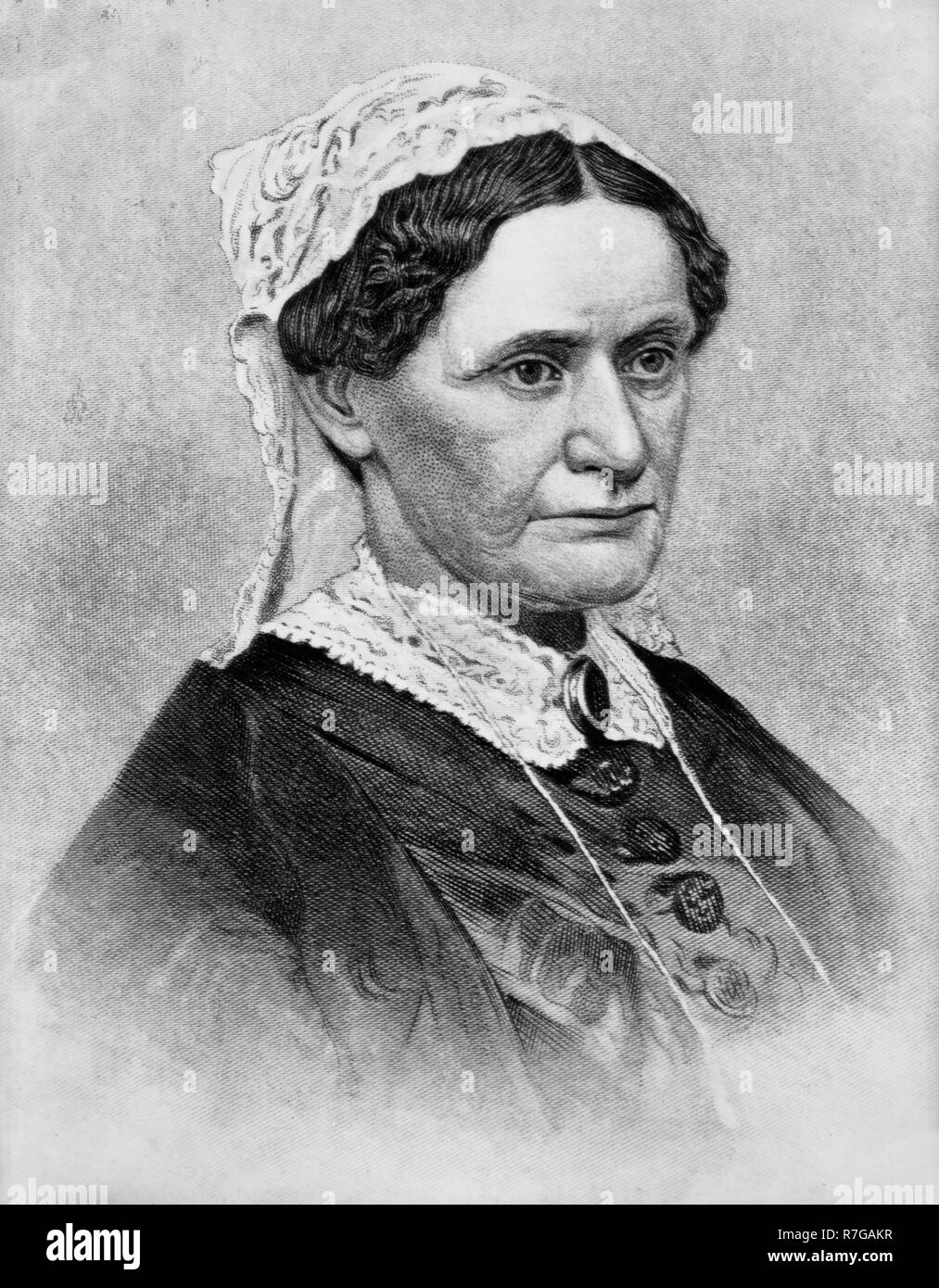 Eliza McCardle Johnson (October 4, 1810 - firstJanuary 15, 1876) was the First Lady of the United States, the Second Lady of the United States, and the wife of Andrew Johnson, the 17th President of the United States. - Stock Image