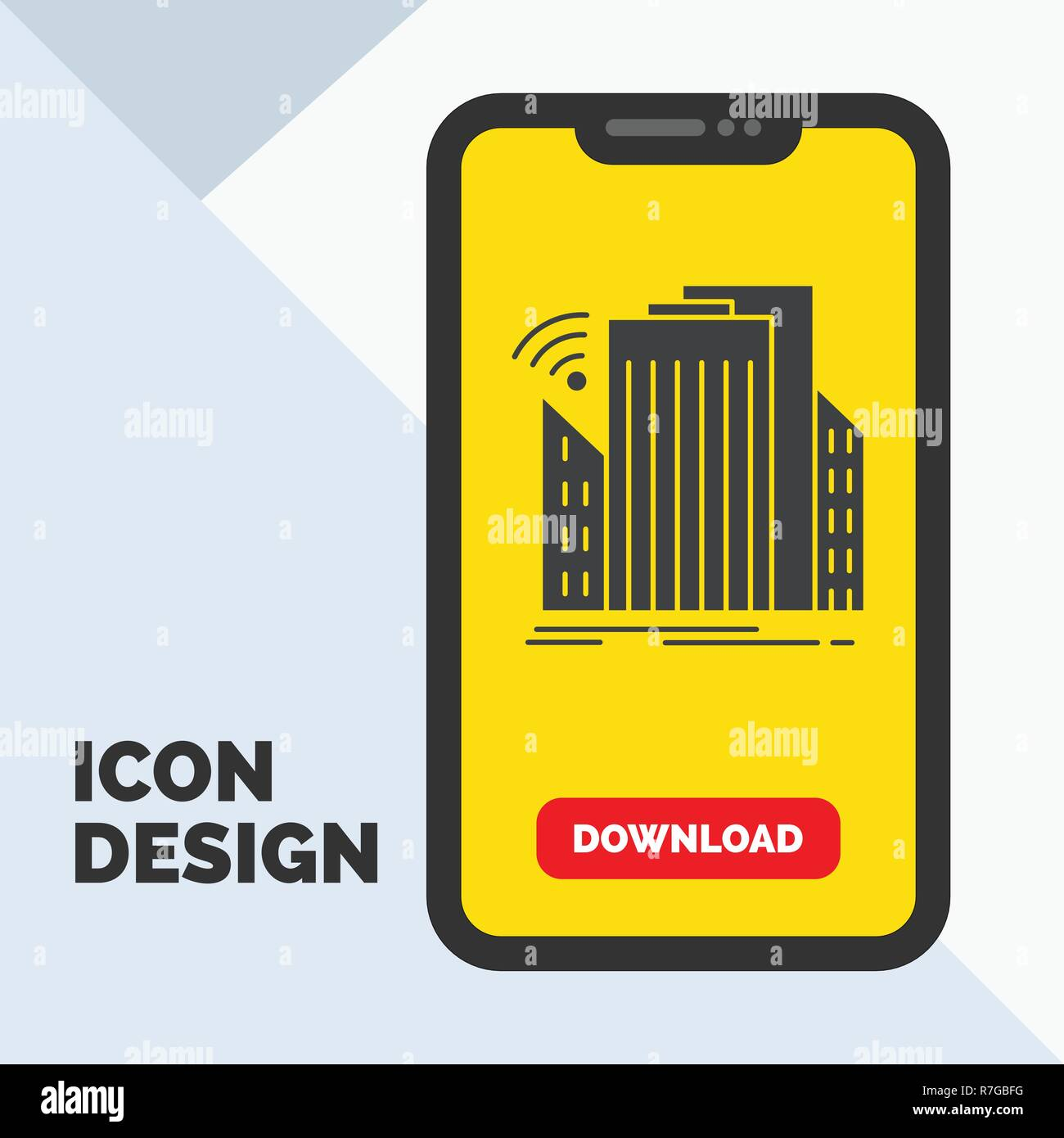 Buildings, city, sensor, smart, urban Glyph Icon in Mobile for Download Page. Yellow Background - Stock Vector