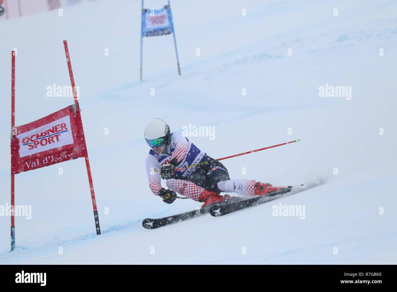 Zubcic Filip Croatia competing in Val d'Isère men's Giant slalom Audi Fis Alpine Ski World Cup 2019 - Stock Image