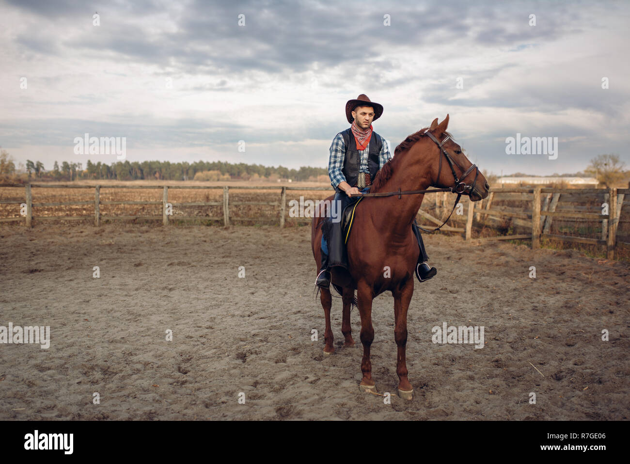 Cowboy Riding A Horse On A Ranch Western Vintage Male Person On Horseback Wild West Adventure Stock Photo Alamy