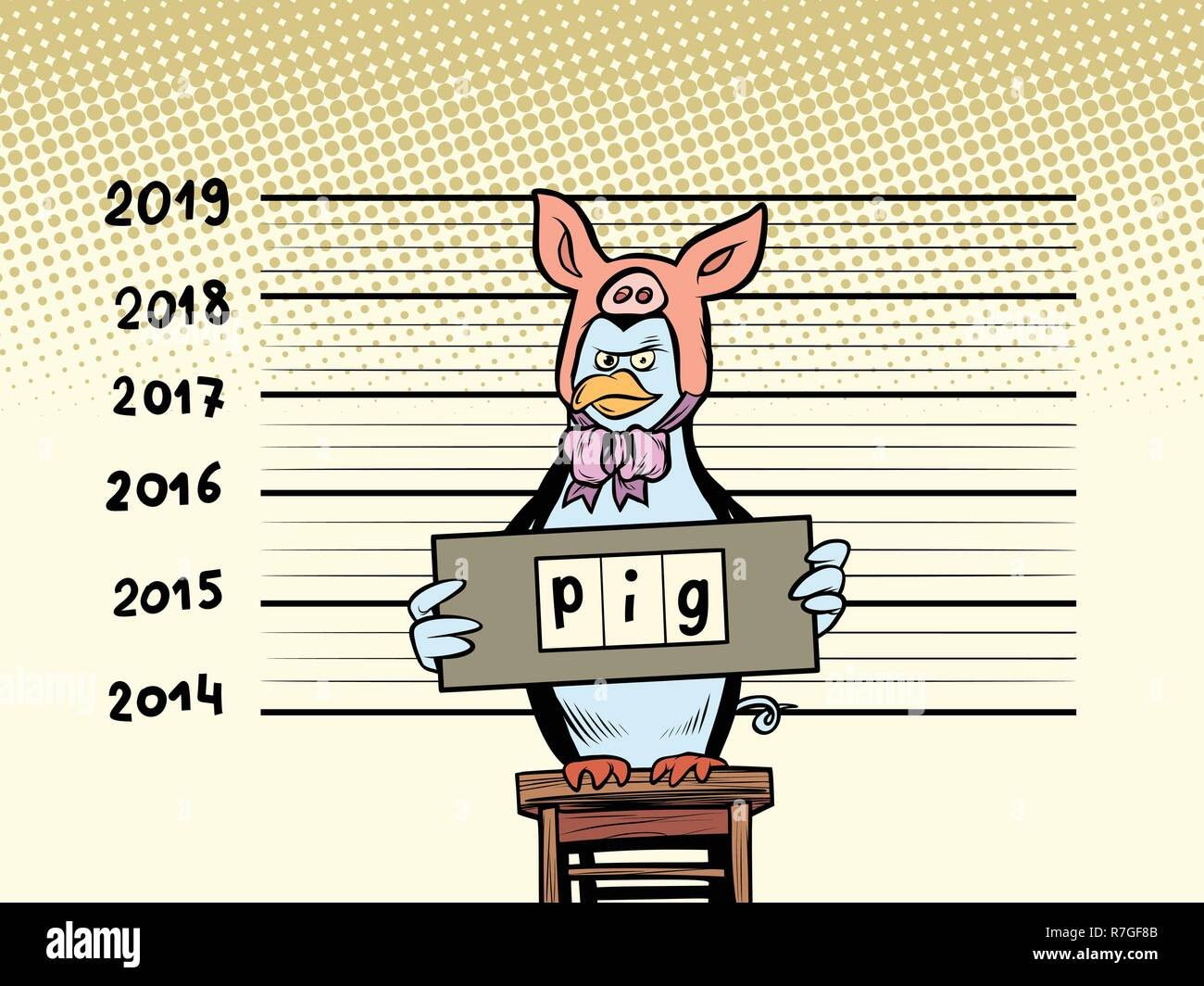 penguin arrested pretended to be a pig. 2019. happy New Year. Comic cartoon pop art retro vector illustration drawing - Stock Vector