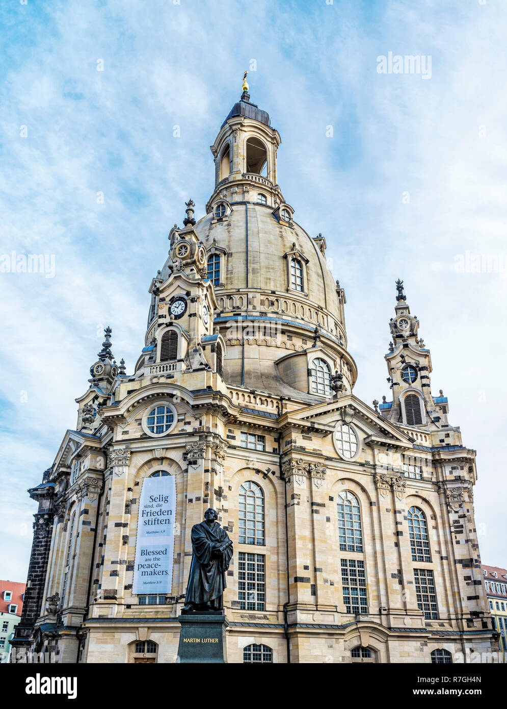 Frauenkirche with Martin Luther statue in Dresden, Germany. Religious architecture. Travel destination. Stock Photo