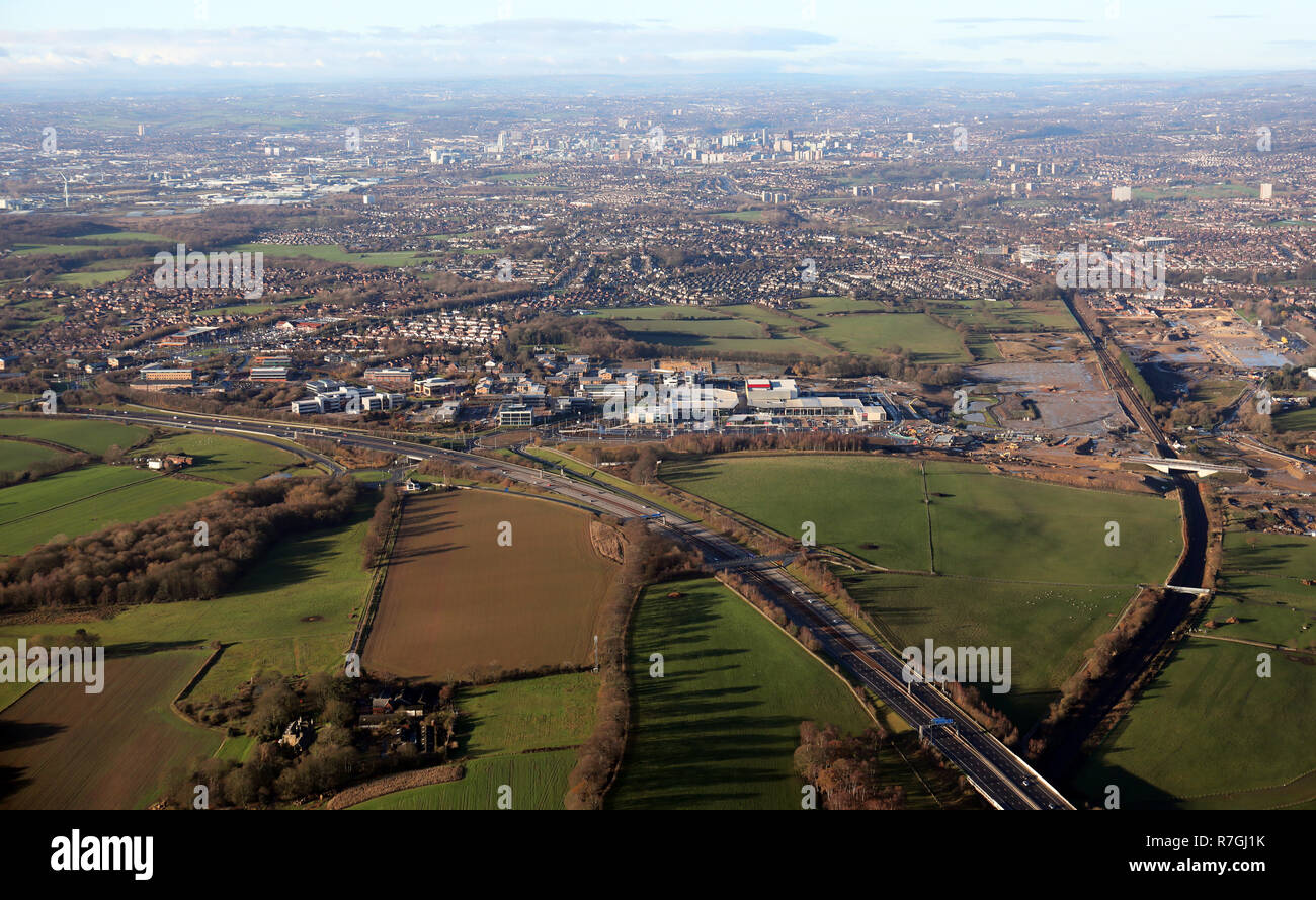 aerial view of Colton near Leeds, showing Century Way and development land - Stock Image