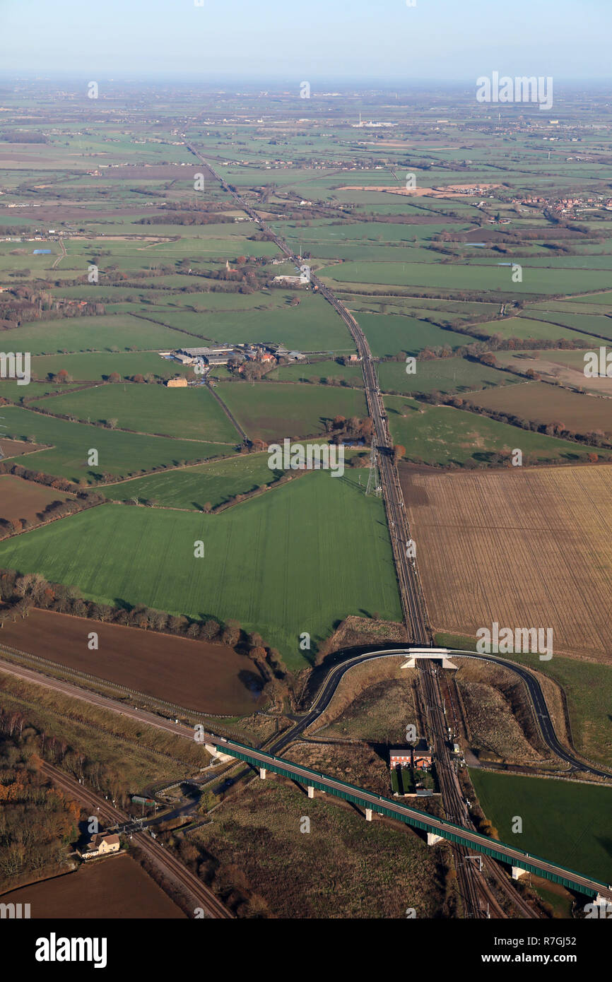 aerial view taken near Thorpe Marsh, Doncaster of the main east coast railway line heading north towards York - Stock Image