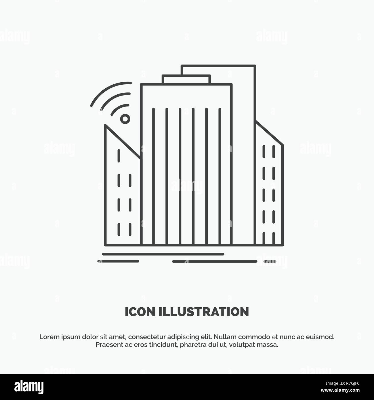 Buildings, city, sensor, smart, urban Icon. Line vector gray symbol for UI and UX, website or mobile application - Stock Vector