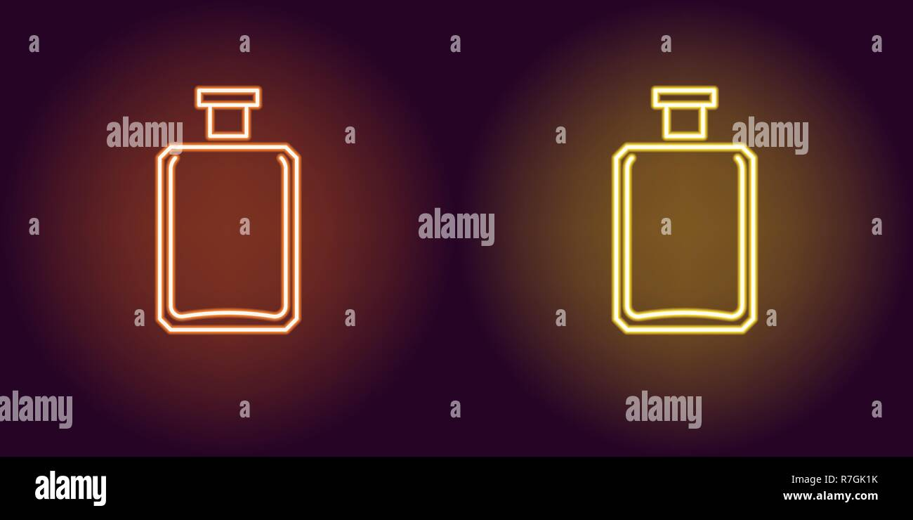 Neon perfume bottle, glowing icon. Vector illustration of perfume flacon with backlight in neon style, orange and yellow colors. Glowing sign and fash - Stock Image