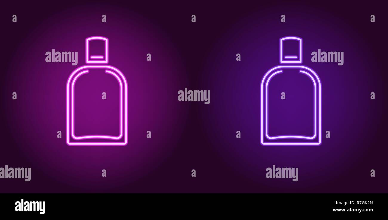 Neon perfume bottle, glowing icon. Vector illustration of perfume flacon with backlight in neon style, purple and violet colors. Glowing sign and fash - Stock Image