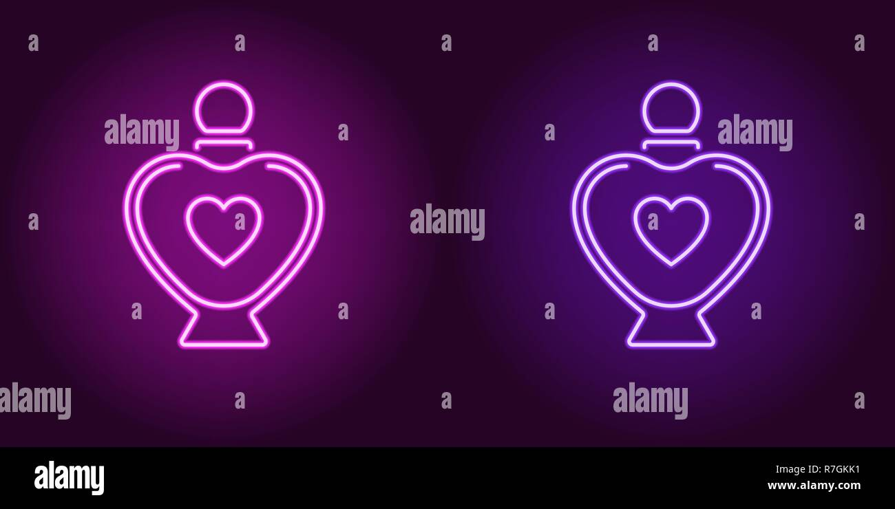 Neon perfume bottle, glowing icon. Vector illustration of perfume flacon with heart and backlight in neon style, purple and violet colors. Glowing sig - Stock Image