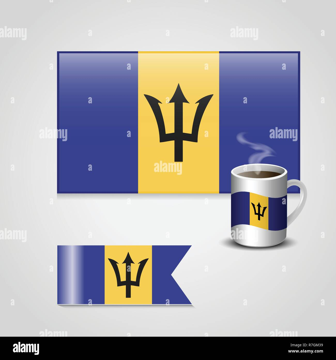 Barbados Flag printed on coffee cup and small flag - Stock Vector